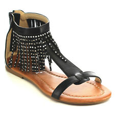 NATURE BREEZE EB39 Women's T-Strap Rhinestone Fringe Back Zip Flat Dress Sandal
