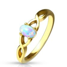 Stainless Steel Oval Opal Criss Cross Gold Ring Size 5-9