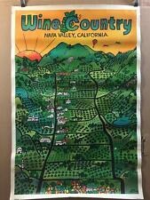 original vtg 1974 Poster 'Wine Country Napa Valley California' 24x36 Thollander