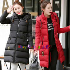 Hot Womens Hooded Padded Puffer Winter Jacket Long Down Cotton Coat Outwear