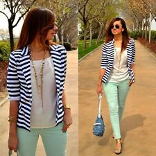 Women's Stripe Slim OL Business Blazer Suit Jacket Outwear Fashion Ladies Coat