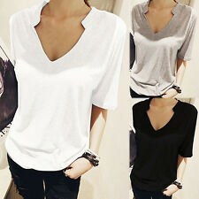 Women's Summer Korean Style V-Neck Short Sleeve Solid Loose T-Shirt Top Hot