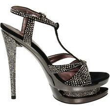 "PLEASER Day & Night FASCINATE-650 6"" Stiletto Heel Dual Platform T-Strap Sandal"