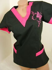 New Women Nursing Scrub Black Pink Embroidery Butterfly Poly/Cotton Top  Size XL