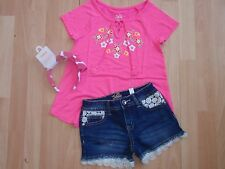 NWT GIRLS JUSTICE SZ 10, 12 SHIRT, DENIM SHORTS, HEADBAND