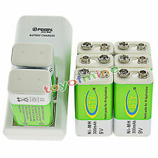 8x 9V BTY Green 300mAh Ni-Mh Rechargeable Battery + Dual Batteries Charger
