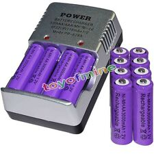 12 AA battery batteries Bulk Rechargeable NI-MH 3000mAh 1.2V Pur + Smart Charger