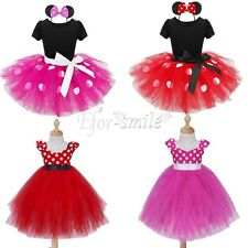Baby Girls Tutu Dress Headband Halloween Party Minnie Mouse Costume Outfits+Ears