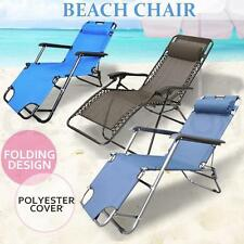 Reclining Deck Lounge Sun Beach Chair Outdoor Folding Camping Fishing Arm Rest