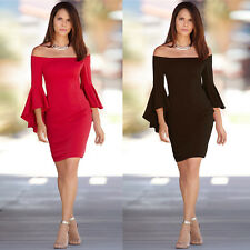 Fad Women Elegant Off Shoulder Ruffles Sleeve Stretch Party Cocktail Mini Dress