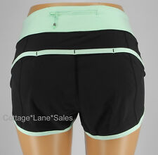 NEW LULULEMON Run Speed Short Sz 10 Black & Fresh Teal NWT Shorts Gym FREE SHIP