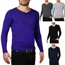 Mens Soft Cotton Knit Plain V Neck Fashion Jumper Knitwear Sweater Pullover Work