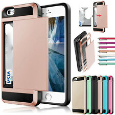 Shockproof Slim Hybrid Card Wallet Hard Back Phone Case Cover For Samsung iPhone