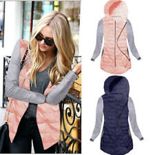 Ladies Womens Zipper Quilted Jacket Hooded Hoody Thin Padded Coat Tops Outerwear