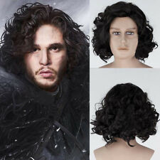 Game of Thrones Jon Snow Short Black Curly Wig Synthetic Cosplay Anime Wigs Prop