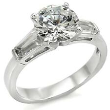 Sterling Silver Engagement Ring Cubic Zirconia Size 5 6 7 8 9 10 Promise Round