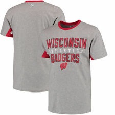 Wisconsin Badgers Hands High Cut Back Fashion T-Shirt - Gray - NCAA