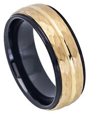 8mm Tungsten Ring  Men Women Wedding Band Two-tone Black IP Inside & Yellow Gold