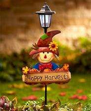 SCARECROW SOLAR LANTERN YARD GARDEN STAKE W/SIGN HALLOWEEN FALL HOME DECOR LIGHT