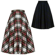 Hell Bunny Doralee 1950s Retro Vintage Tartan Plain Flared A Line Swing Skirt UK