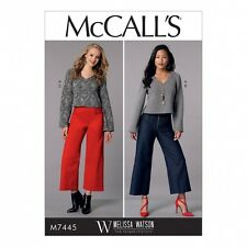 McCalls Ladies Sewing Pattern 7445 V Neck Top & Cropped Wide Leg Pants (M...