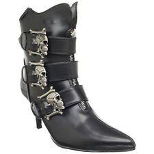 DEMONIA FURY-06 Women's Goth Punk Witchy Ankle Costume Boot Silver Skull Buckle