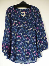 NEW MANTARAY DEBENHAMS NAVY BLUE FLORAL TUNIC TOP BLOUSE UK SIZE 12 14 16 18