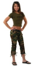 Womens Ladies Girls Military Army Woodland Forest Camo Camouflage Capri Pants