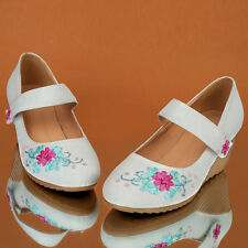 Good Quality Flower Sweet Velcro Strap Wedge Med Heel Lady's Shoes AU Size s019