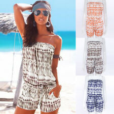Sexy Women Summer Off Shoulder Playsuit Beach Printing Shorts Jumpsuit Rompers