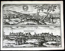 ca. 1575 Oxford Windsor Castle Braun Hogenberg map Plan engraving Kupferstich