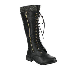 FOREVER GF55 Women's Knitted Collar Lace Up Lug Sole Zipper Combat Boots