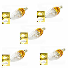 5 pc E14 Bulb 3W 300LM Warm LED 85~265V Candle Lens Clear Lamp Energy Saving