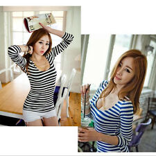 Womens Sexy Fashion Stripe Long Sleeve Bodysuit Stretch Body Top T-shirt Small