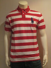 POLO RALPH LAUREN MEN POLO SHIRT [S–L XL ] BIG PONY STRIPES RED NIP