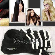 7A 100G 40Pcs Tape In 100% Remy Human Hair Extensions Brazilian Real Thick HQ455