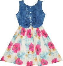 Girls Dress Skirt Blue Denim Floral Dress Bow Tie Casual Beach Age 4-10 Years