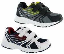 NEW BOYS KIDS ASCOT TWIN FASTENING CASUAL TRAINERS SHOES UK 10-2