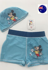 Boy Mickey Mouse Swimmer Trunk Beach Pants Bather Swimwear Shorts UV Protect Cap