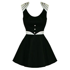 Hearts And Roses London Black 50s 60s Skater Retro Mod Mini Party Prom Dress UK