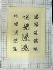 Old Antique Print Ref.441 A Heraldry Crests C1790-C1900 Lions Animals 249G106