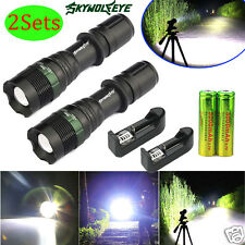 2 Sets CREE XM-L T6 LED Zoom 6000LM Flashlight Torch Lamp 18650 Battery+Charger