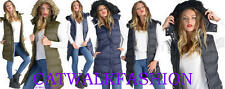 NEW WOMENS BRAVE SOUL QUILTED PUFFER PADDED GILET COAT FUR HOODED JACKET C21