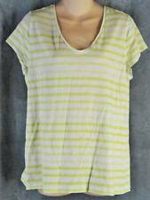 Ann Taylor Loft XL Short Sleeve Lime Green White Stripe Shirt V-neck Top