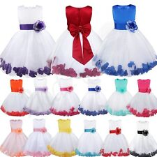 Flower Petal Girl Princess Pageant Wedding Party Formal Birthday Kids Gown Dress