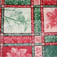 CHRISTMAS VINYL TABLECLOTH~POINSETTIA~Flannel Back~ALL SIZES~Red/Green~NEW