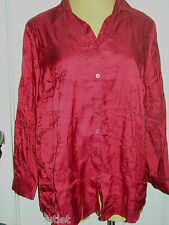 CATHERINE'S Gorgeous Silky Red Embroidered Long Sleeve Button Down Blouse 1X 2X