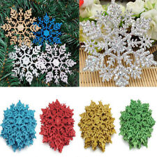 12Pcs Glitter Snowflake Christmas Ornaments Xmas Tree Hanging Decoration Fashion