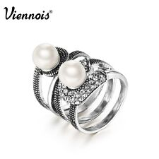 Viennois New Faux Pearl Silver Plated Stack Party Ring Size 7,8 fashion jewelry