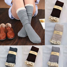 Lace Cotton Women High Stockings Crochet Knit Footed Leg Boot Cuffs Socks Knee
